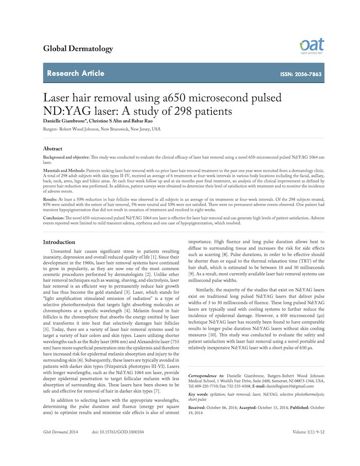 Laser Hair Removal Using a 650-Microsecond Pulsed ND:YAG